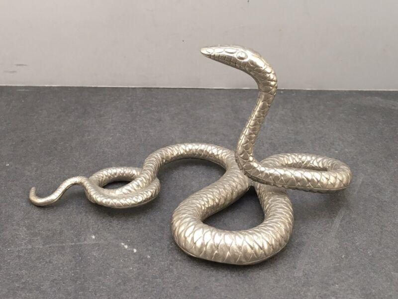 Japanese Meiji Solid Silver Okimono of a Snake