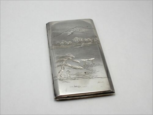 Heavy 950 Silver Signed Large Japanese Cigarette Case