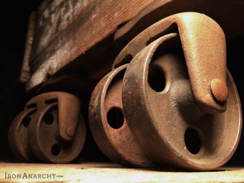 Atq INDUSTRIAL CASTERS, Vtg Factory Cart Kitchen Island Cast Iron Metal Wheel