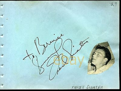 Original FRANK SINATRA bold signed album page 1940s autograph ink fountain pen