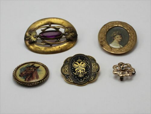 Lot of 5 Assorted Vintage Victorian Style Pin Brooches/Findings - Craft Jewelry