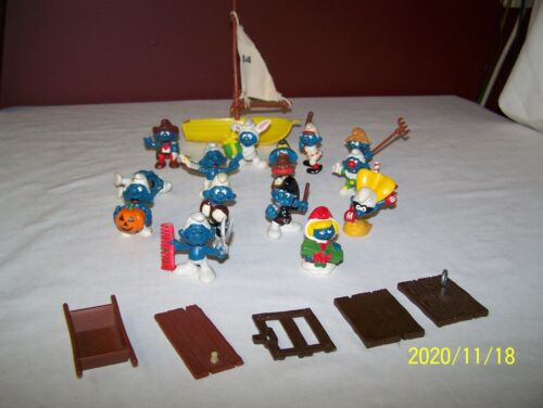 LOT OF14 VINTAGE SCHLEICH PEYO SMURF FIGURES, BOAT & PARTS  ~ 1970