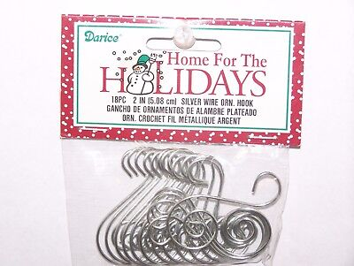 "18 Fancy Scroll Ornament Hooks Silver Color Wire 2"" Christmas Craft Decor"