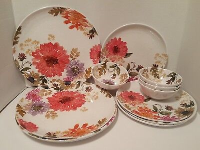 New Better Homes And Gardens Melamine Mix Floral Design 12 pc Dinnerware Set