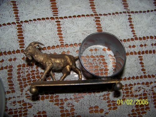 Victorian napkin ring with goat