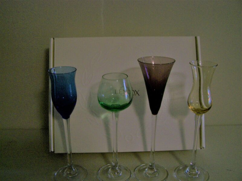 "Lenox Assorted Color Cordial Glasses Set of 4  Approximately 8 "" high"