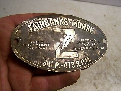 Fairbanks Morse 3hp Z Brass Name Serial Tag Hit Miss Gas Engine Steam Tractor