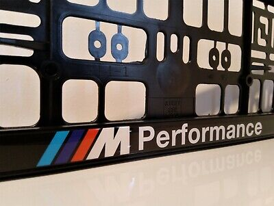 2x CAR Number Plate Surround Frames Best fits tech BMW M PERFORMANCE domed white