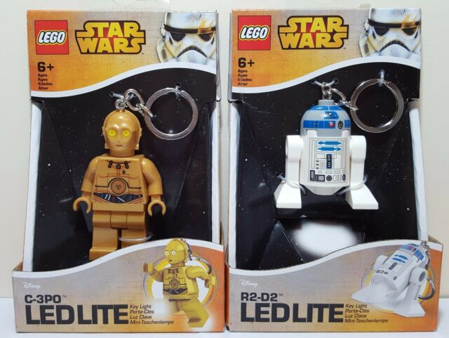 Lego Star Wars Keychain Lot of 2 R2-D2 C-3PO Torch LED LITE Key Light Brand New
