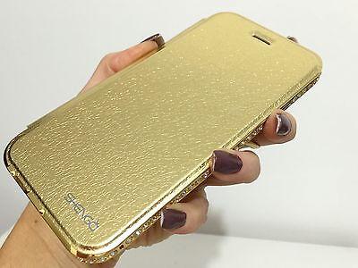 Gold Wallet Case Cover Flip Bumper Swarovski Elements Crystals Stones iPhone 6