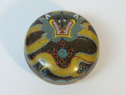 "19th C. Chinese Cloisonne 4.5"" Dragon Box"