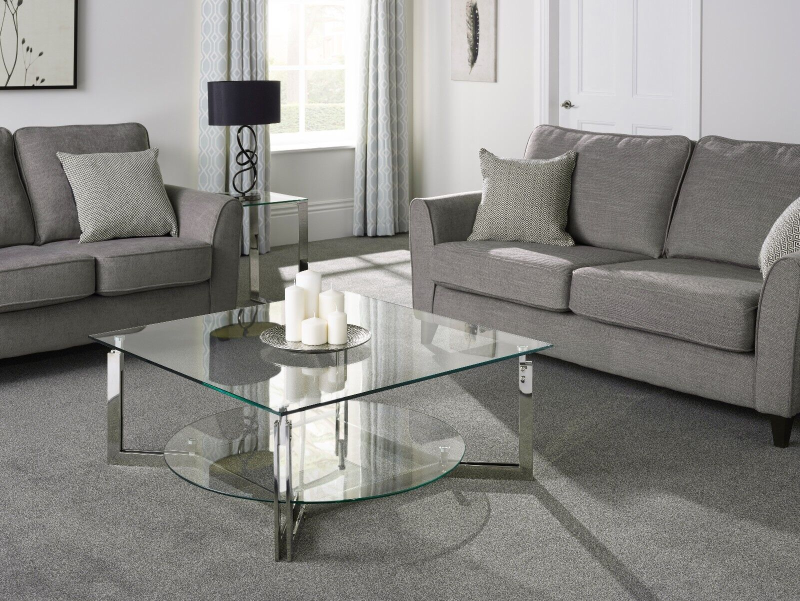 Eclipse Glass Coffee Table With Shelf Stainless Steel Modern Square