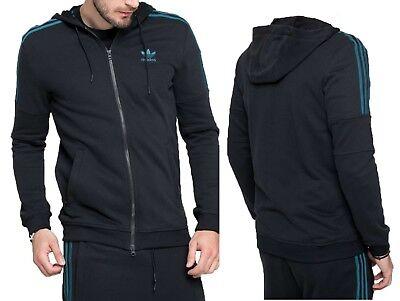New Adidas Ornamental Block Full Zip Hoodie Men's Athletic Black Jacket Block Zip Hoodie