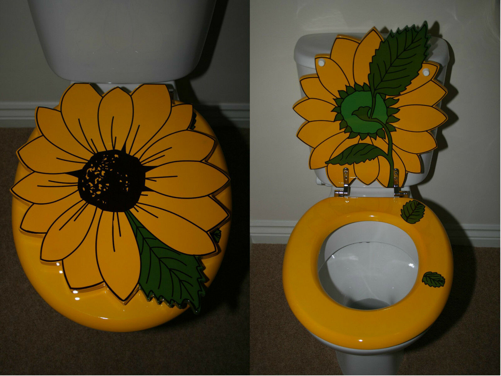 Designer Novelty Printed Toilet Seat Sunflower Design Ebay