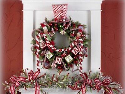 Sale! Christmas Santa Blocks Garland, Raz Imports, Santa Ornaments, Tree decor - Christmas Ornament Sale