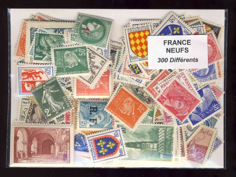 France 300 Stamps Different New