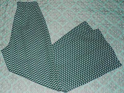 Womens Plus Size VTG 16 Wide Leg High Waist Green White Polyester Pants WOW!