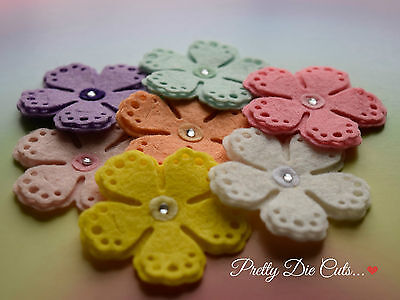 5 Large Felt Layered Flowers Die Cut Floral Craft Embellishments