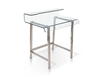 Klar Glas-schreibtisch (MILLAR Glas Schreibtisch Klarglas 85x55x91cm Glastisch Bürotisch Metallgestell)