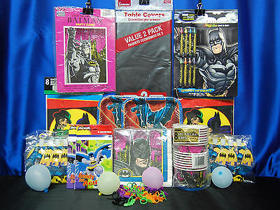 Batman Party Set # 15  Cups Plates Napkins Tablecover Game Invites Blowouts ++