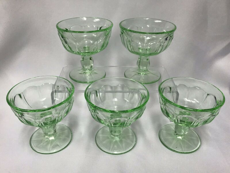 5-Vintage Green Glass Stemmed Sherbet, Ice Cream Dish (Depression Glass?)