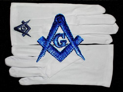 Masonic White Gloves Blue Embroidered G Logo Square & Compass