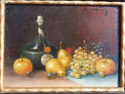 Franz Nowak, Kleines Stilleben mit Cognacflasche, Öl auf Holz, gerahmt