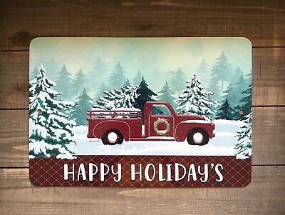 Christmas Metal Sign - Red Truck Metal Sign - Christmas Sign - Farmhouse Decor - Happy Holidays Plaid
