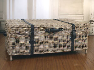 Coffee Table Storage Chest 'Kubu' Country French Provincial Style Cane
