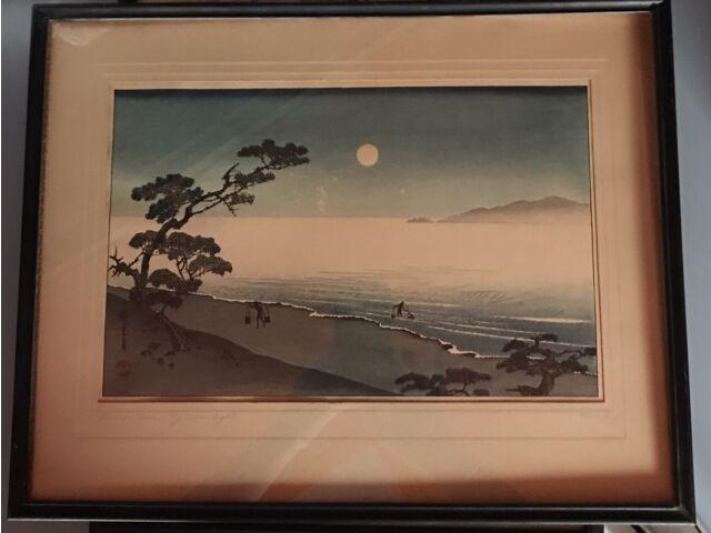 Antique Original Framed Signed Hiroshige Woodblock Print Suma Beach At Moonlight