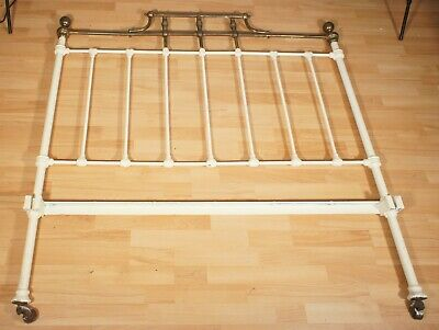 ANTIQUE Metal Double Headboard Partially Painted Ornate Brass Top Section
