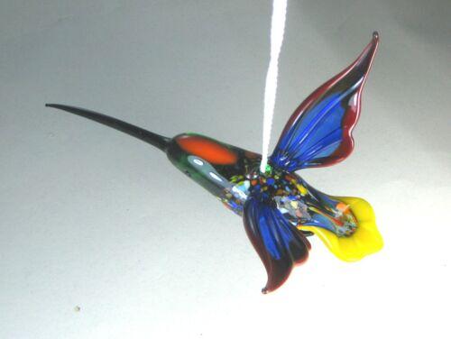 blown glass animal   hummingbird blue hanging   murano figurine  ornament bird