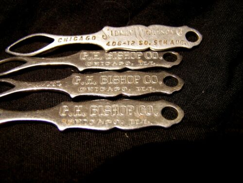 4 LOT VINTAGE 1916 ADVERTISING CHICAGO~METAL~COLLAR BUTTON HOOKS