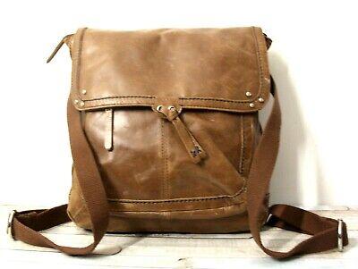 The Sak DISTRESS BROWN GENUINE LEATHER FLAP CNRTBL BACKPACK HANDBAG SHOULDER BAG Backpack Brown Leather Handbags