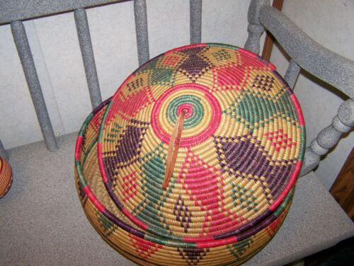 Vintage Hand Woven large basket with lid from Nigeria