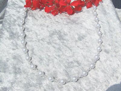 elegante Perlenkette weiss Perlen glasklare Bicone Braut Hochzeit Brautschmuck *, gebraucht gebraucht kaufen  Barsikow