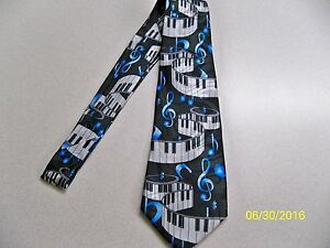Piano key boards and G- clef notes, musical, music, Band, theme men's neck tie