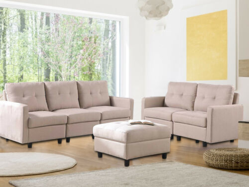 7-Piece Modular Sectional Sofa Modern Living Room Linen Couch With Back Cushion  3