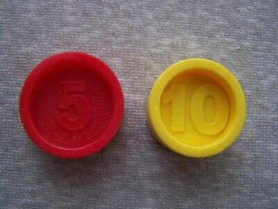 LOT OF 2 VINTAGE FISHER PRICE CASH REGISTER REPLACEMENT COINS 5 & 10 CENTS