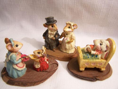 Vtg Miniature MICE lot LOOKS LIKE Wee Forest Folk? wedding bride groom--Baby Bed