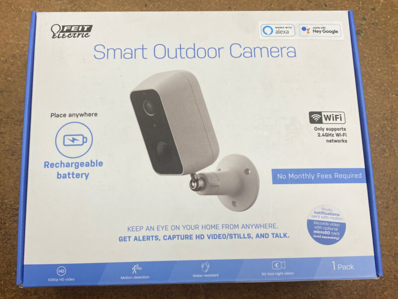 Feit Electric Company Smart Outdoor Camera Place Anywhere White Security Cam
