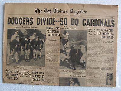 1942 9 8 Newspaper   The Des Moines Register   4 Page Sports And Comic Section