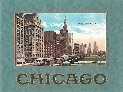 VINTAGE/ART DECO CHICAGO GUIDE by Max Rigot Postcard Co 32 STUNNING COLOUR PAGES