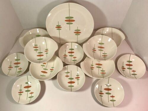 Royal China USA Mid Century Modern Pottery MIKADO Pattern 14 Pieces RARE