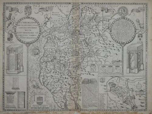 CUMBERLAND AND THE ANCIENT CITIE OF CARLISLE BY J. SPEED. SUDBURY & HUMBLE 1676.