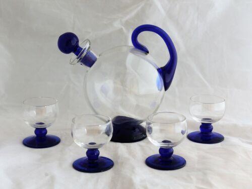 Mid Century Modern Glass Ball cobalt blue handled Decanter & 4 Cordials Set