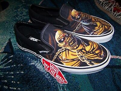 NEW Vintage IRON MAIDEN PIECE OF MIND Vans Slip On Skateboard Skate Shoes Sz 8.5