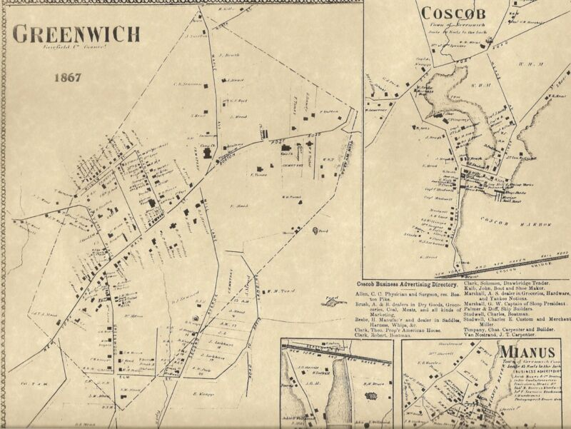 Greenwich Mianus Cos Cob CT 1867  Maps with Homeowners Names Shown