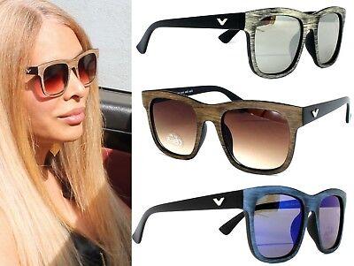Große Sonnenbrille Cat Eye Oversized fühlbare Holz Optik Schwarz Braun Blau V