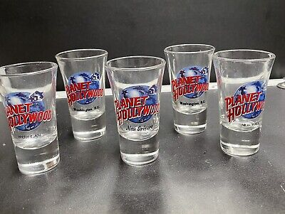 planet hollywood shot glass (lot of 5) New Orleans New York Myrtle Beach D.C.